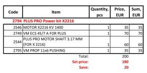 PLUS PRO Power kit X2216